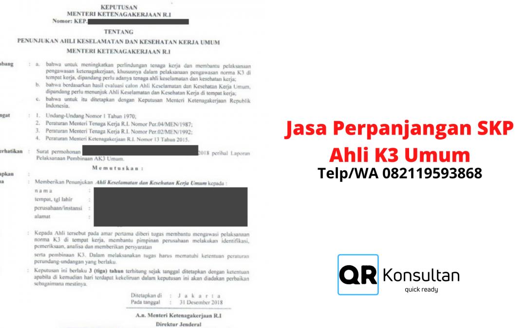 Perpanjangan SKP Ahli K3 Umum Murah & PJK3 Resmi